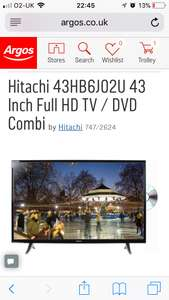 Hitachi 43HB6J02U 43 Inch Full HD TV / DVD Combi @ Argos £199.99