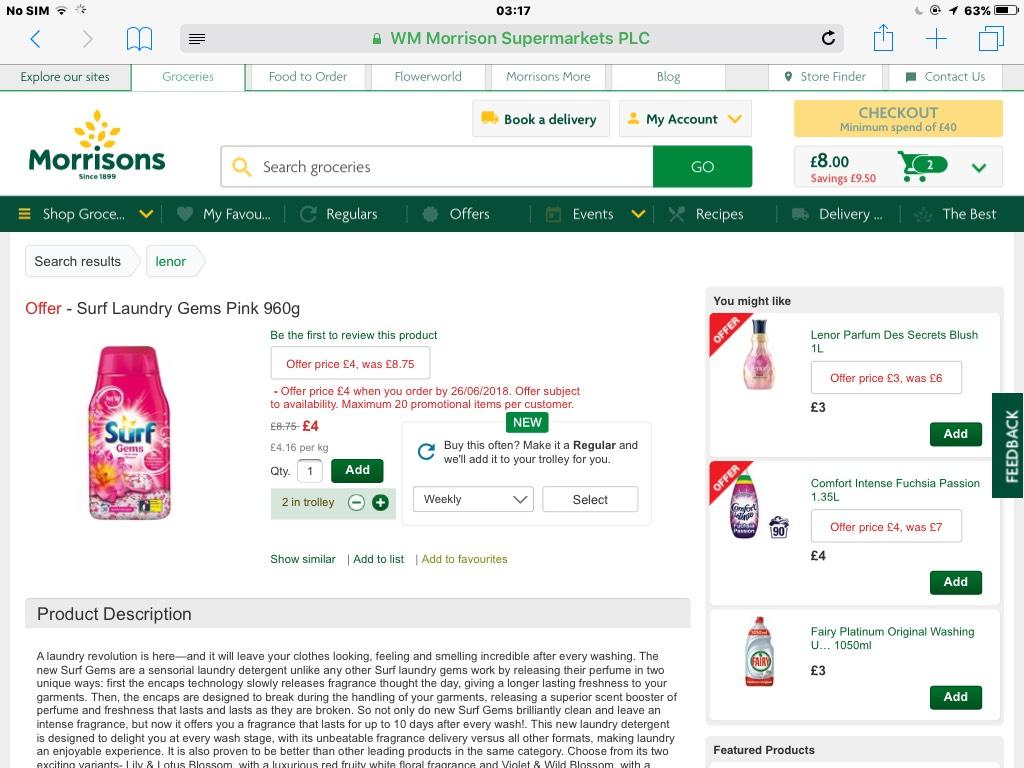 Surf pink laundry Gems 960g £4 at Morrisons