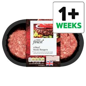 Tesco Finest 4 British Beef Steak Burgers 454G £1.50 from 13th