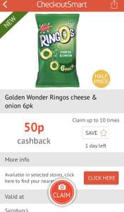 Golden Wonder Ringos 6pk Cheese and Onion 50p using CheckoutSmrt App - can claim 10 times - extended until 18th June