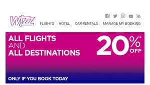 TODAY ONLY - 20% off Wizz Air