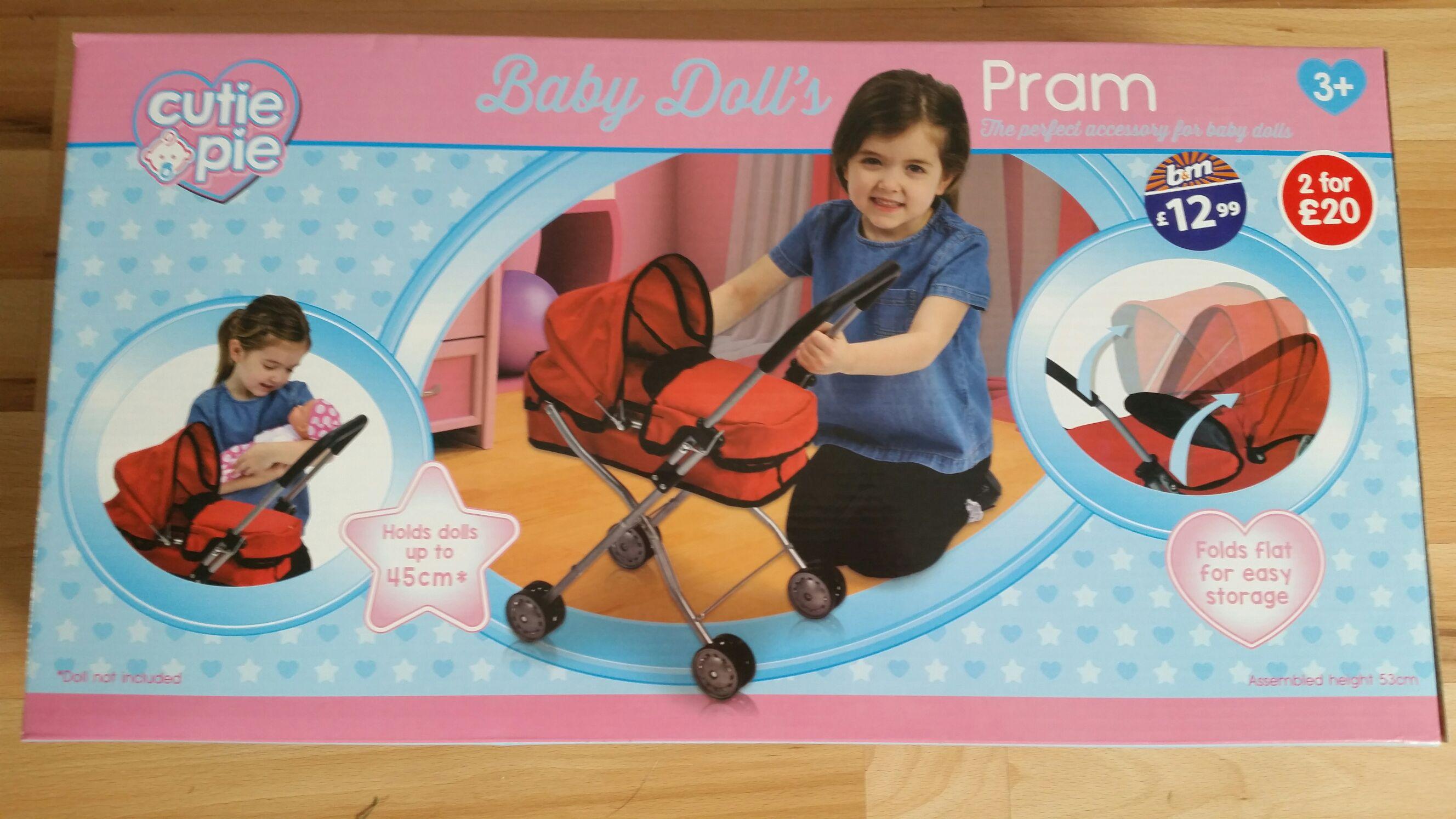 Cutie Pie Doll's Pram - £2.99 @ B&M