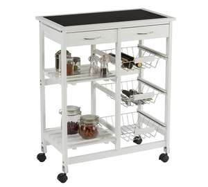 Collection Kitchen Trolley with Slate Effect Glass Top - White (was £60.99) Now £30.99 at Argos