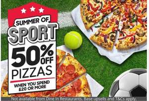 50% off at Pizza hut on orders over £20 (Nationwide)
