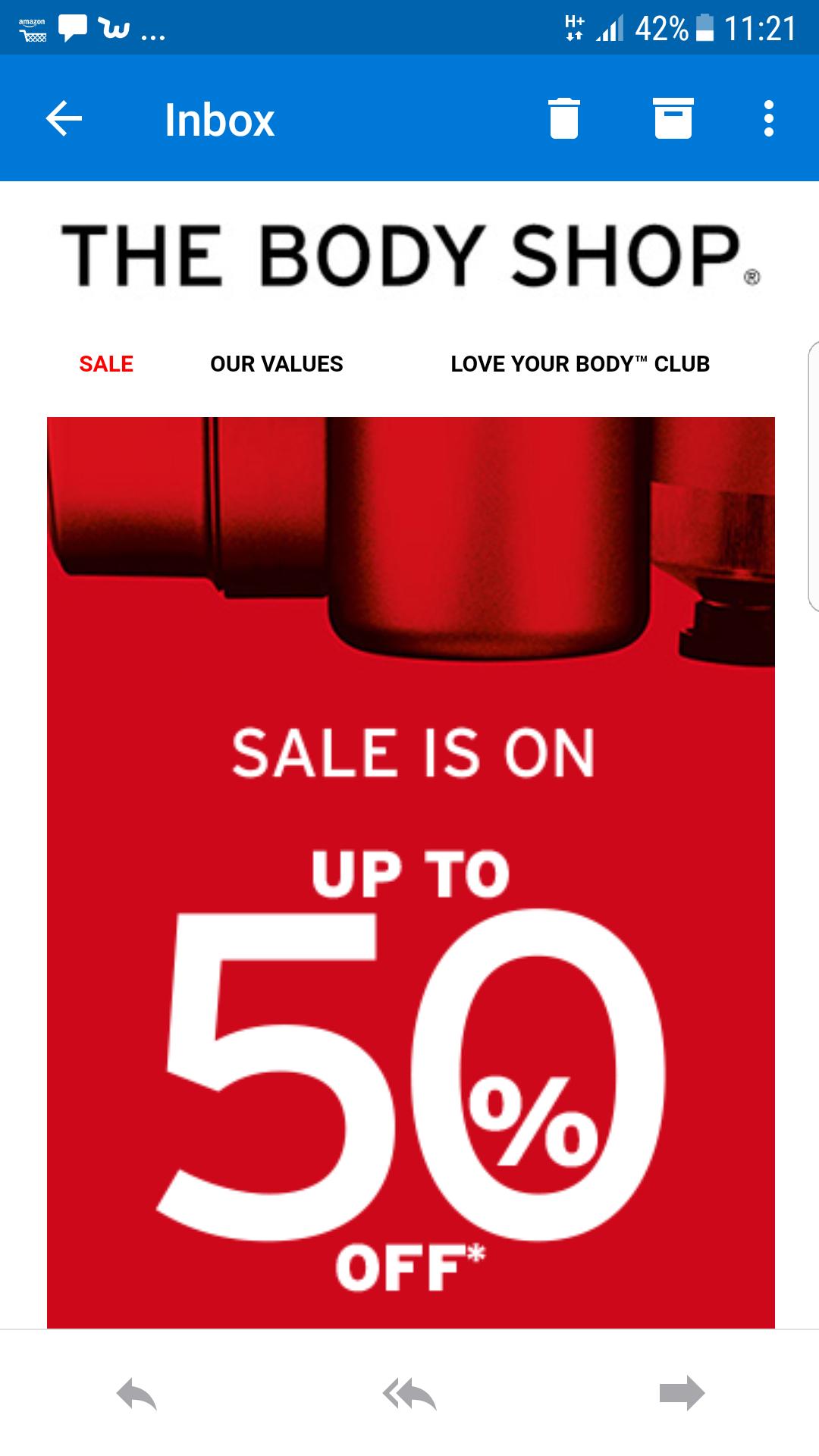 Body shop upto 50% off sale