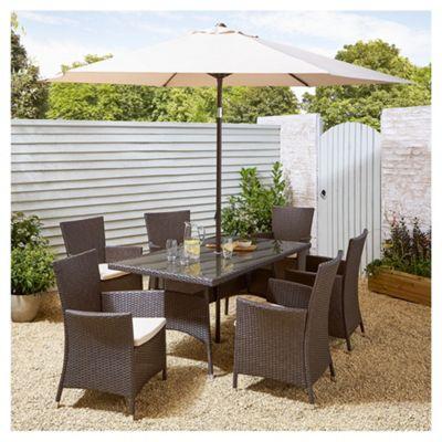 Tesco Corsica 8 Piece Rattan Rectangle Garden Dining Set (with Parasol) - Half price £300 + £7.95 del