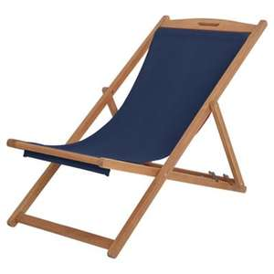 Kingsbury Wooden Navy Deck Chair Tesco Direct Standard Delivery £7.95