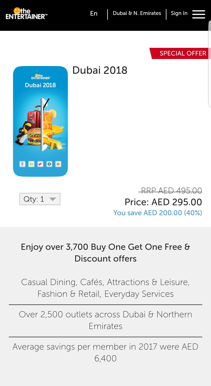 Dubai Entertainer 2018 - £60 @ theentertainerme