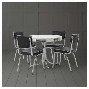 Rydell 4 Seat Set Black American Diner Kitchen Dining Room Table & 4 Chairs @Tesco