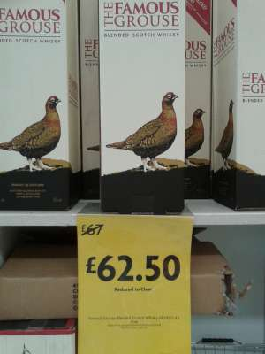 Famous Grouse whisky 4.5 litres  £62.50,  in-store at Morrisons, West Kirby (= £13.89 p/L) .  Also at New Brighton store