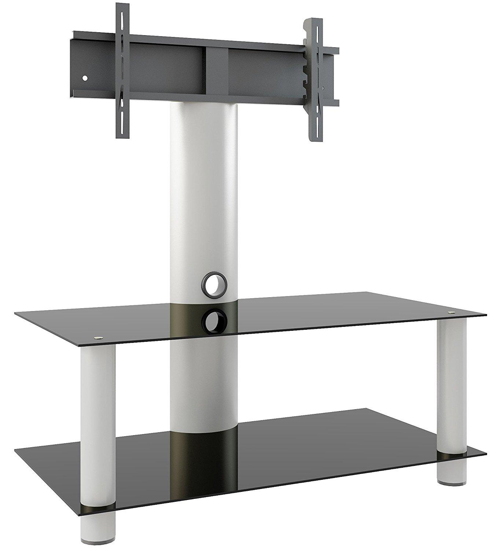 "VCM TV Stand Lowboard Shelf Cabinet Furniture Entertainment Unit with Bracket ""Valeni"" Silver Aluminium / Black Glass £36 @ Amazon"