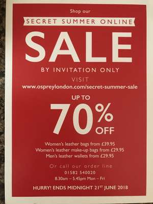 Osprey London Secret Sale up to 70% off