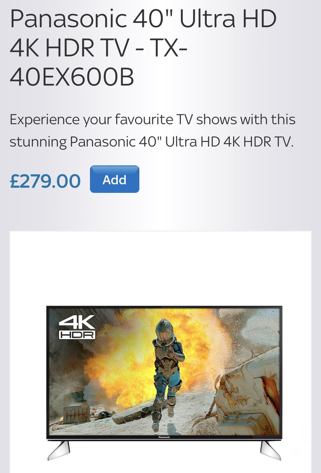 """Panasonic 40"""" Ultra HD 4K HDR TX-40EX600B £279 @ Sky accessories"""