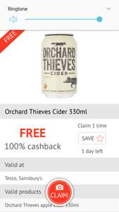 Orchard Thieves Cider 330ml - £1.50 @ sainsbury's & Tesco but FREE after cashback with Checkoutsmart
