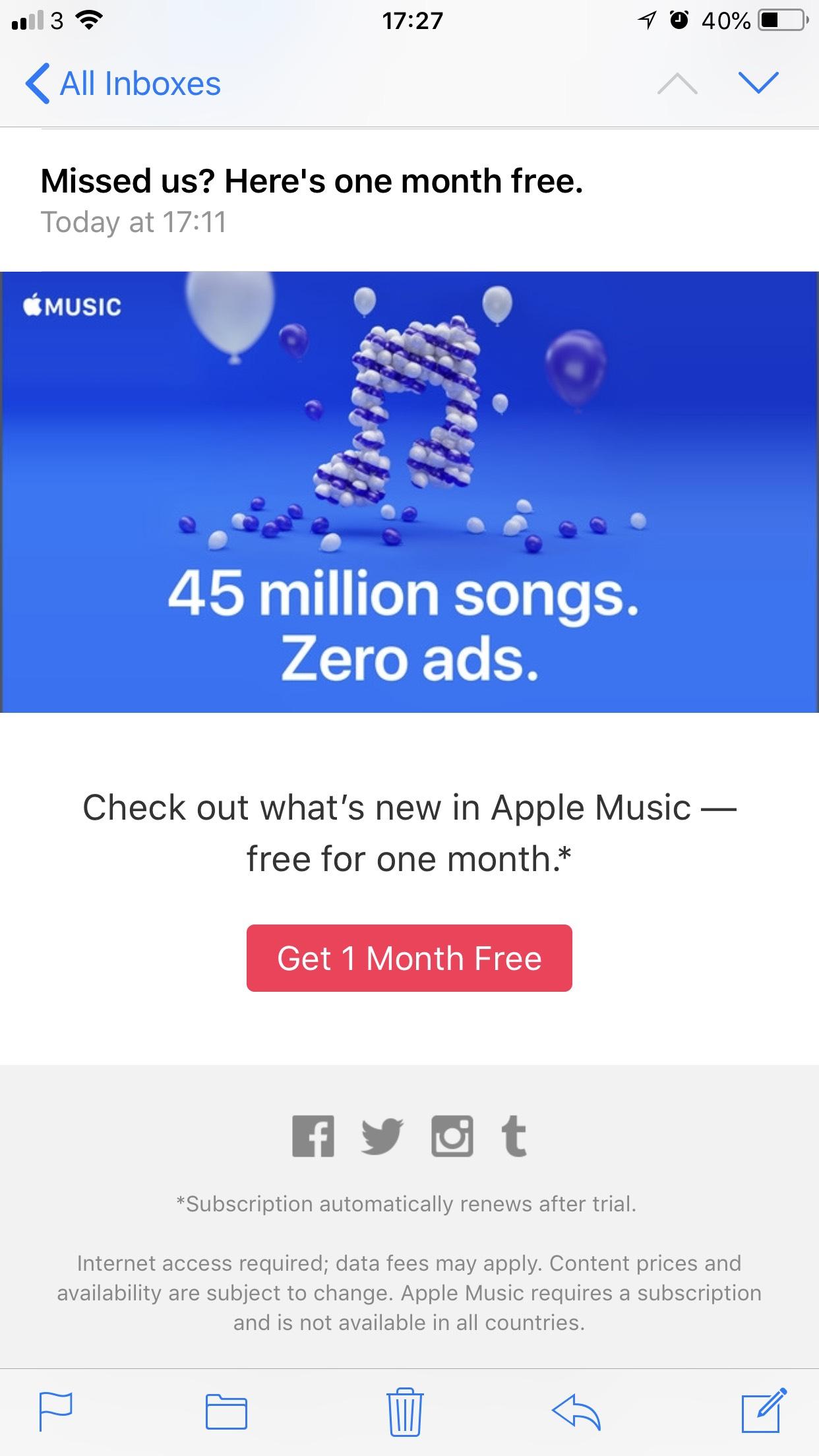 Apple music 1 Month Free