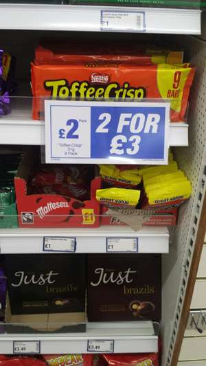 2x9 bar pack of toffee crisp for £3 instore @ Boyes (Lincoln)