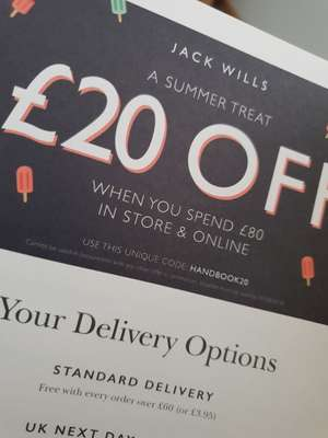 Jack Wills £20 Off when you spend £80 in store or online.