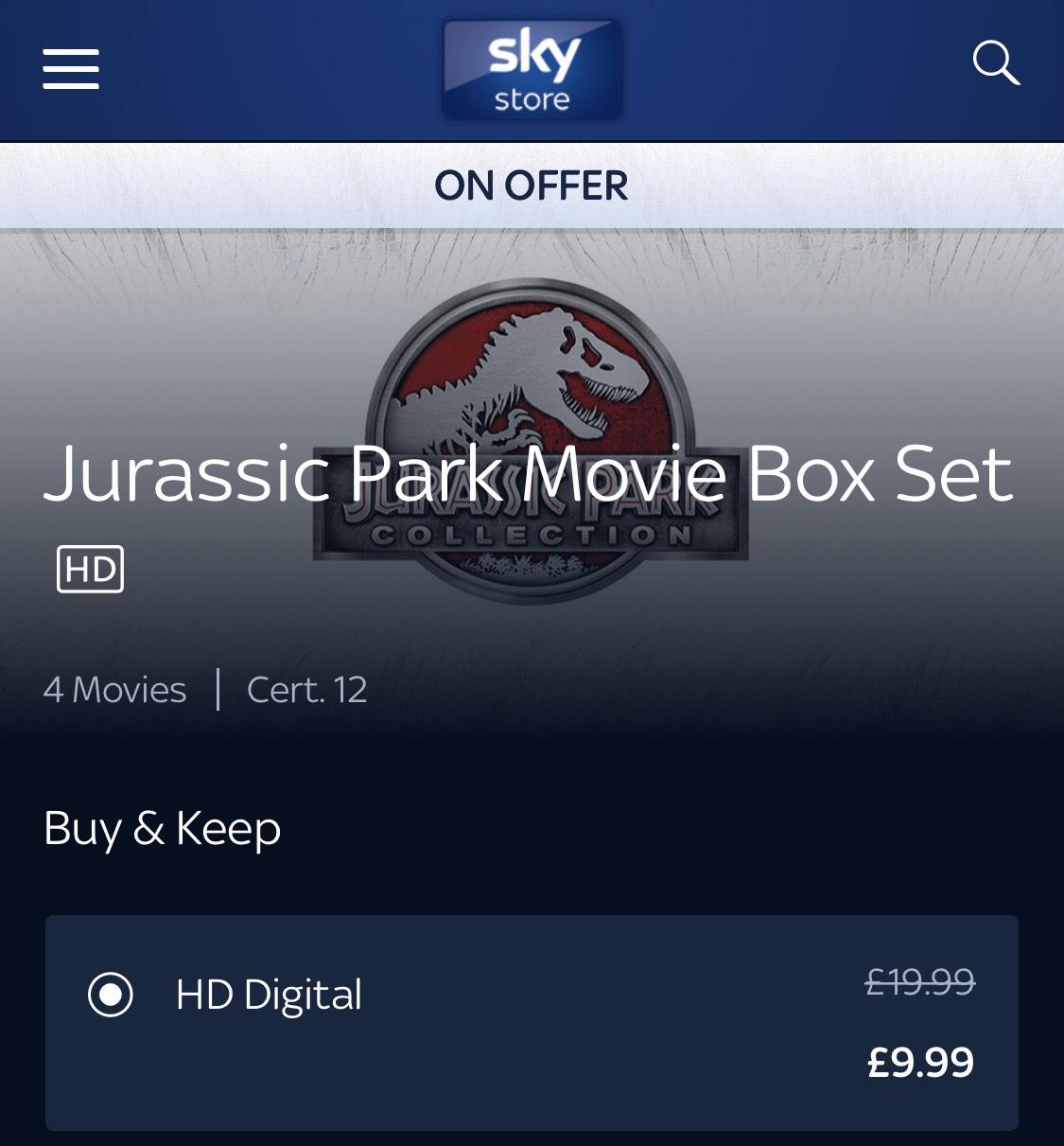 Jurassic Park 1-4, Just £9.99 @ Sky Store
