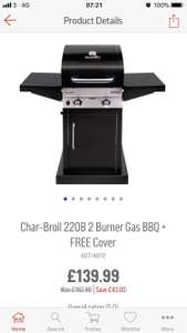 Charbroil 220B 2 burner gas bbq+ free cover £139.99 Argos