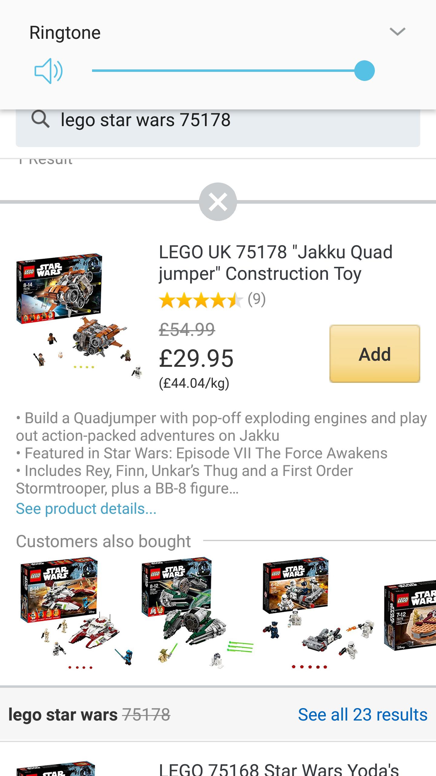 Lego Star Wars Jakku Quadcopter £29.95 (Amazon PRIME NOW Manchester)
