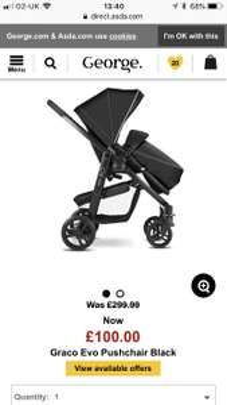 Graco evo pushchair black £100 on Asda direct