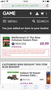 Wolfenstein II: The New Colossus Season Pass (Xbox one) @ GAME - £8.99