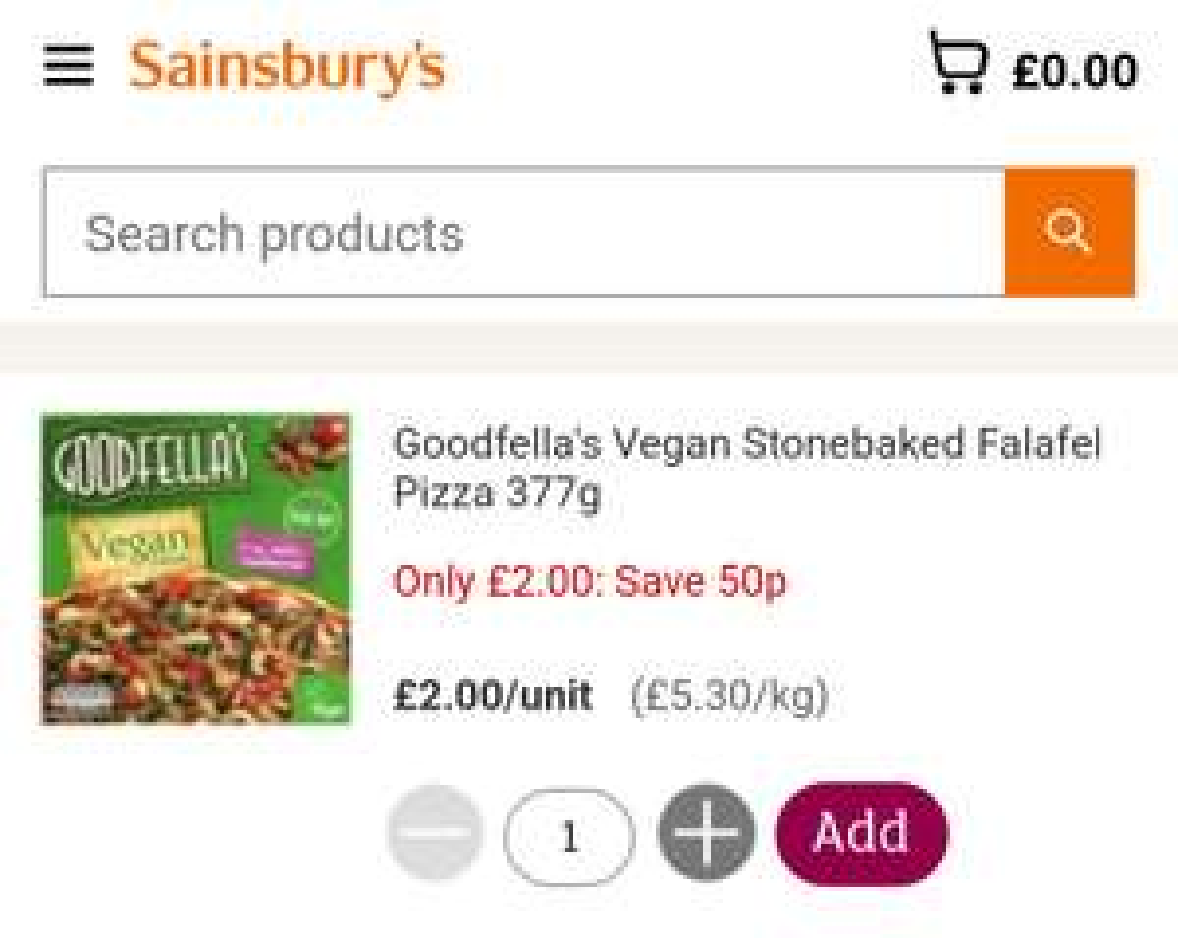 Sainsbury's Goodfellas Vegan Falafel Stonebaked Pizza 377g £2
