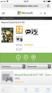 Beyond good and evil HD (Xbox one) £2.22 @ Microsoft Store