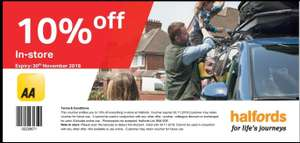AA Rewards - 10% off everything in store at Halfords