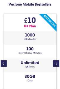 Vectone Mobile bundle pack: £10 - 30GB  1000 UK Minutes + 100 International Minutes - EE network
