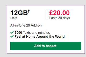 12gb PAYG data simo 3000 texts & minutes abroad 3 30 days add-don £20