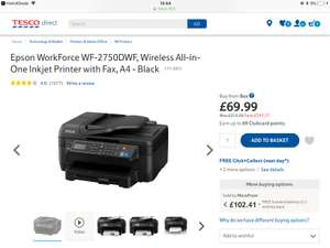 Epson WorkForce WF-2750DWF, Wireless All-in-One Inkjet Printer with Fax £69.99 at Tesco sold by Box