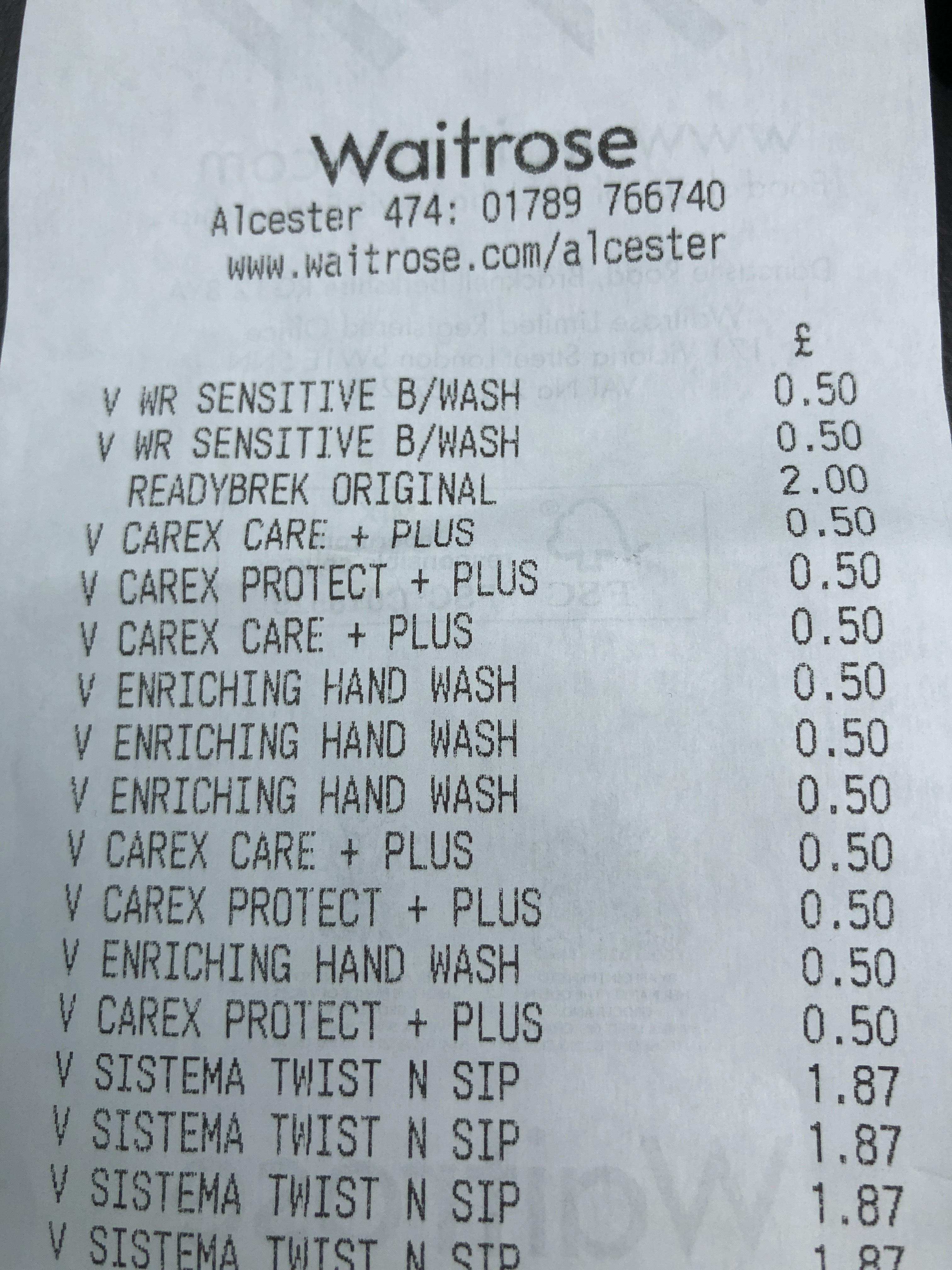 Carex hand wash 50p Waitrose - Alcester