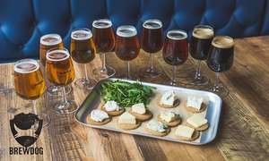 Craft Beer School: Tutored Tasting with Five Beers plus Cheese Platter for Two at BrewDog, Multiple Locations (50% Off) £19.99 @ Groupon