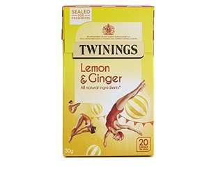 Twinings Lemon and Ginger Tea Bags, Pack of 4 (20 bags in each) £1.49 @ Amazon - Add on Item
