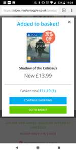 Shadow of the collosus ps4 £11.19 @ Music Magpie