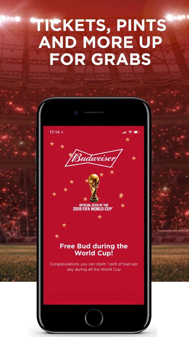 Free Budweiser during Fifa World Cup via Matchpint