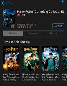 Harry Potter 4K 8 Movie Collection £39.99 @ iTunes