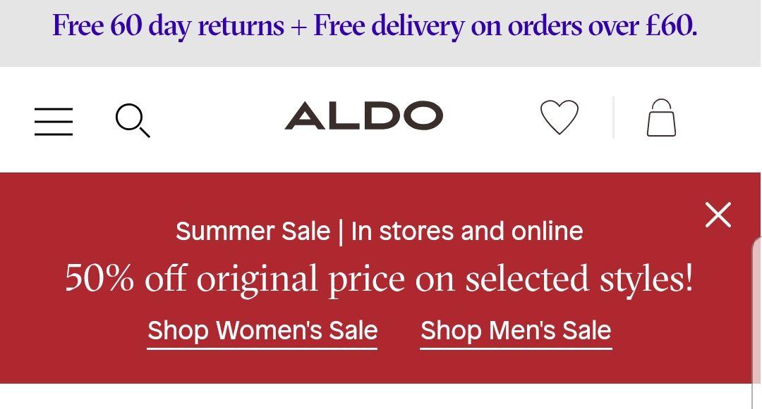 ALDO- 50% off original prices! Men & women's sale