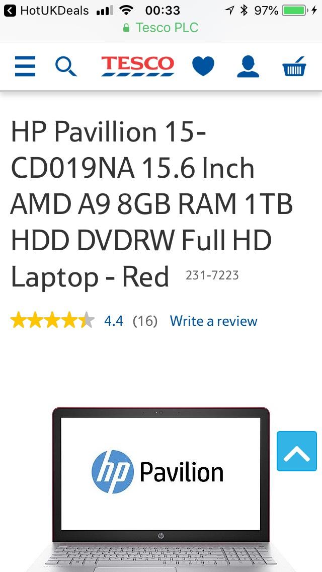 HP Pavillion 15-CD019NA 15.6 Inch AMD A9 8GB RAM 1TB HDD DVDRW Full HD Laptop - Red £369 @ Tesco