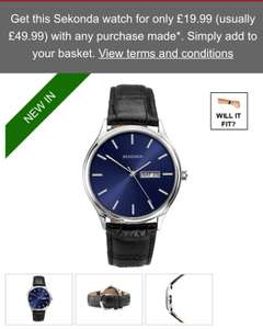 Get this Sekonda watch for only £19.99 (usually £49.99) with any purchase made*. Simply add to your basket @ H Samuel