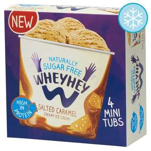 Wheyhey Ice Cream (Salted Caramel or Chocolate) 4X100ml £3.00 @ Tesco