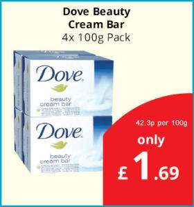 Dove Beauty Cream Bar 4x100g £1.69 in Savers