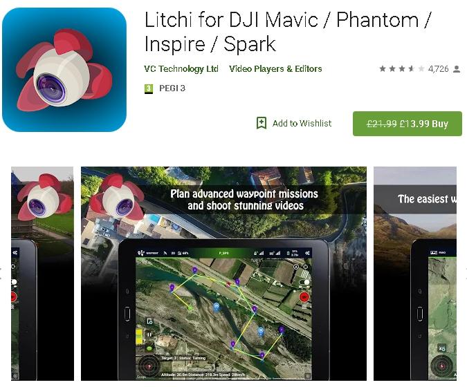 SALE! Litchi Drone Software *Android & Apple versions* for DJI Mavic Pro / Phantom 4 / Inspire / Spark / Air / Phantom 4 Pro V2.0 @GooglePlay - £13.99
