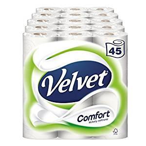 Velvet Comfort Toilet Roll Tissue Paper 45 Rolls (Pack of 5 x 9) @ Amazon - £15 Prime / £19.49 non-Prime