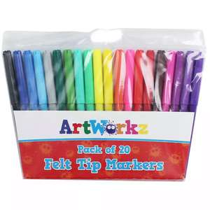 Felt Tip Markers - Pack Of 20 £1 @ The Works (free C&C)