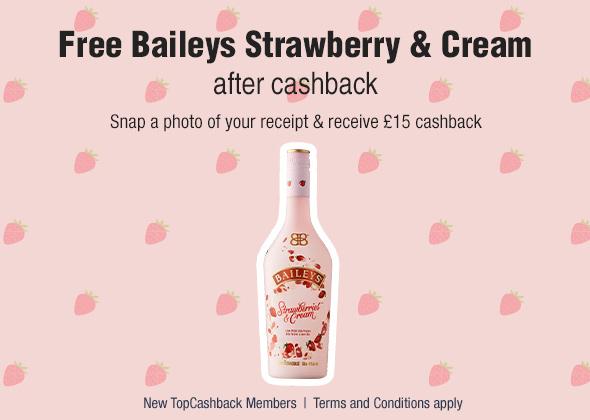 Baileys Strawberries & Cream 70cl New Member Offer £15 (Free after cashback) @ TopCashback