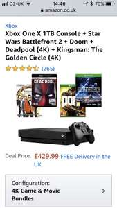 Xbox one x console 2 games and 2 4k blu rays. Various configurations £429.99 @ Amazon