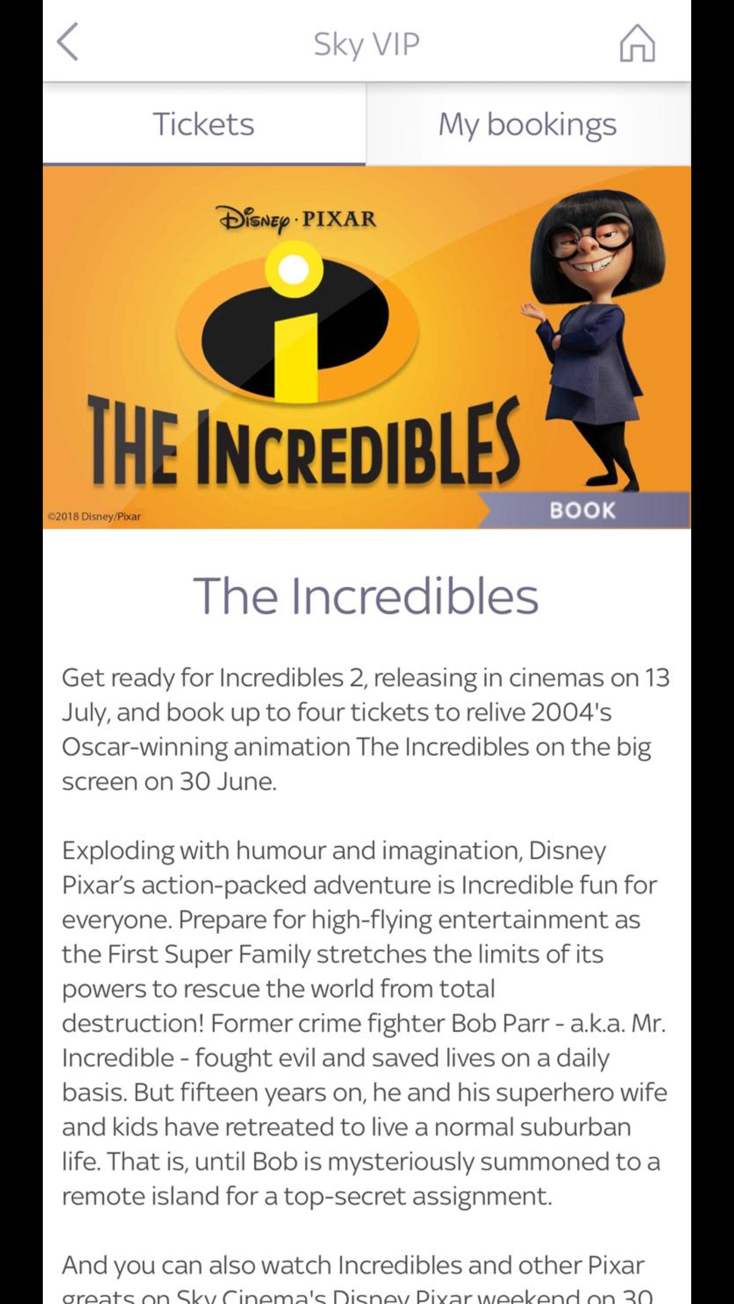 The Incredibles - Saturday 30th June - Sky VIP