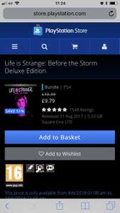 Life is strange before the storm deluxe edition @ PlayStation store £9.76